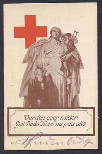 German President Paul von Hindenburg World War I Signed Red Cross Postcard