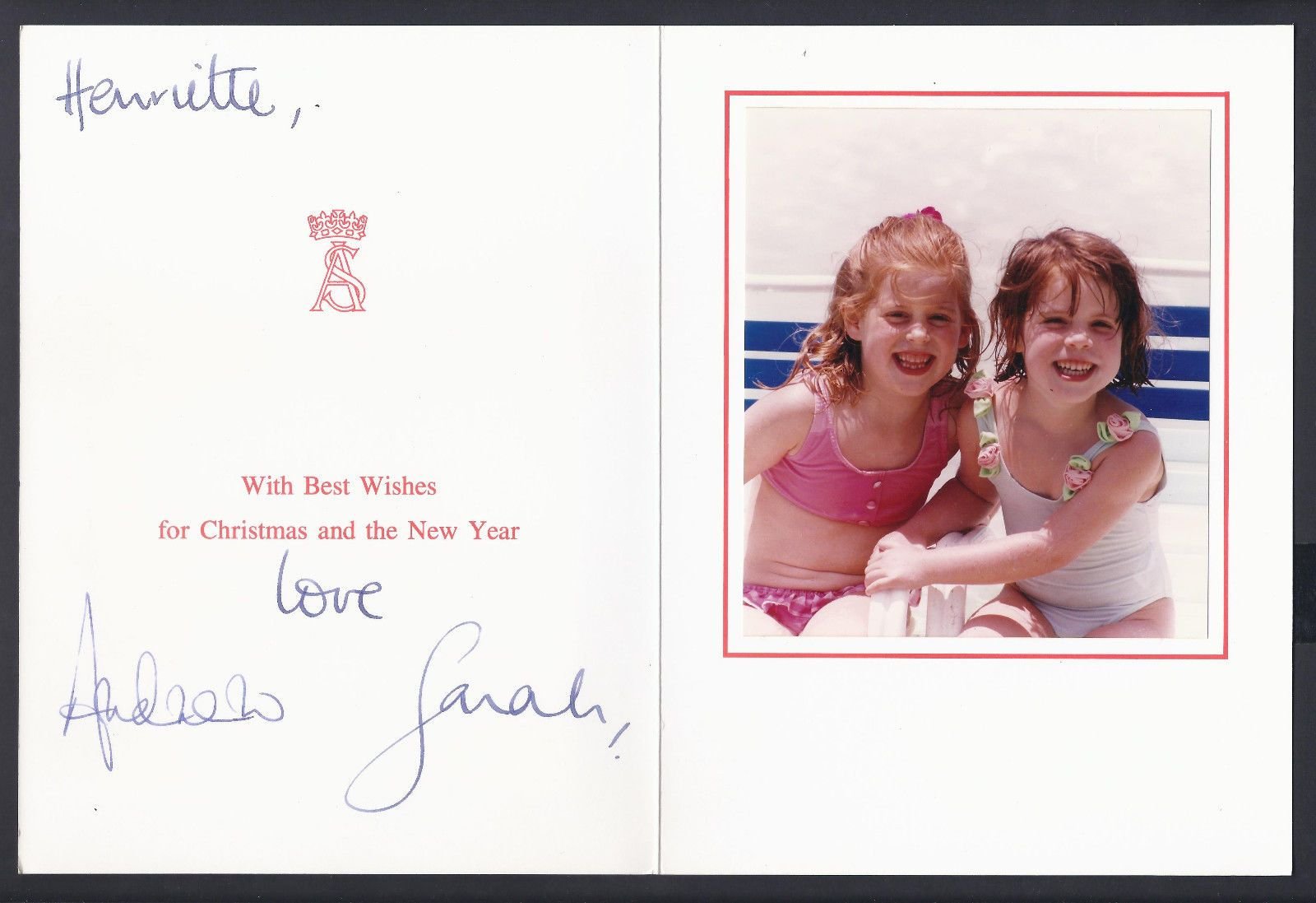 Prince Andrew Duke & Duchess of York Signed Christmas Card to Lady ...