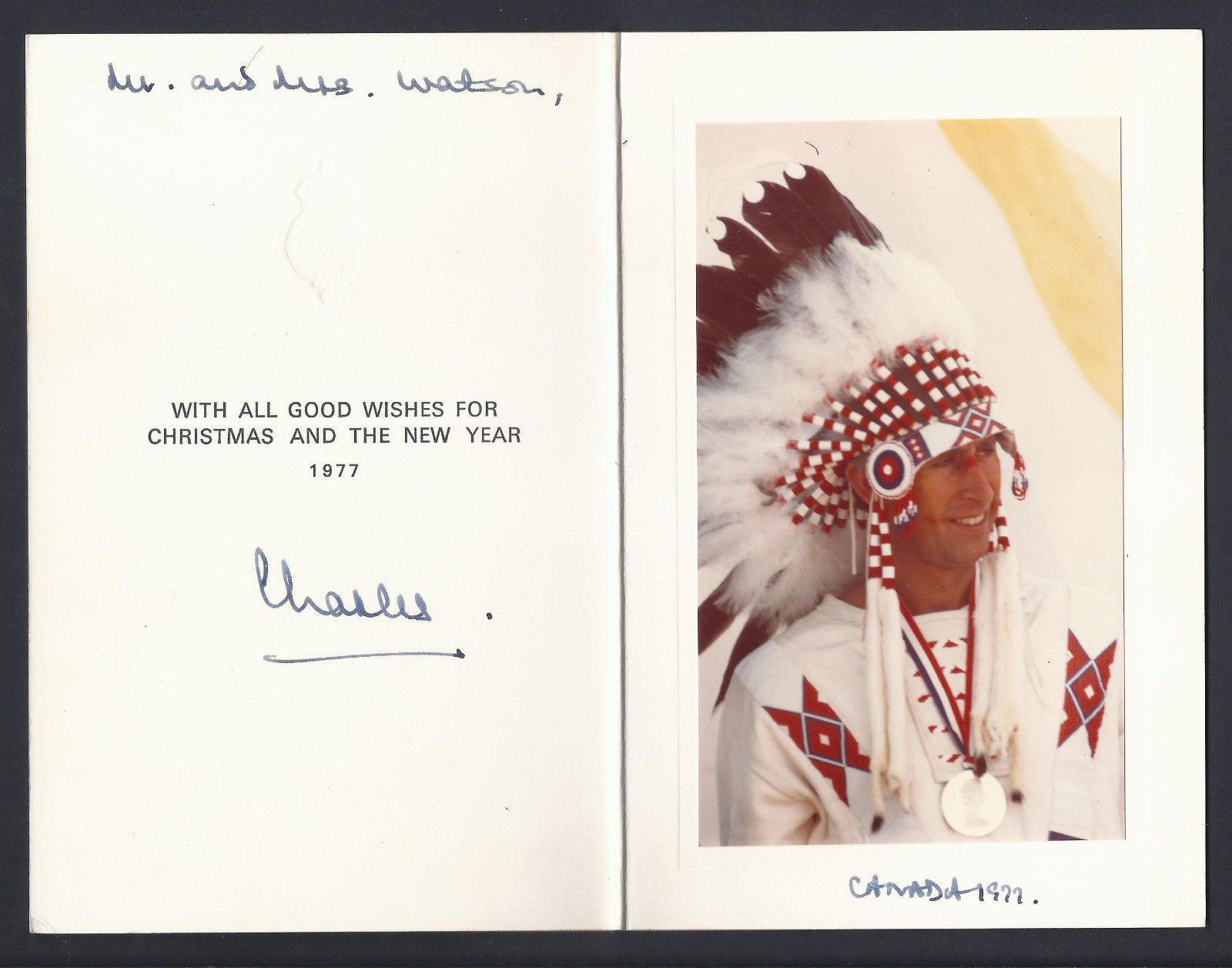 Prince Charles of Wales Signed Christmas Card Canada 1995 Native ...